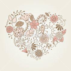 en forma de corazón floral vintage — Ilustración de stock #8567610