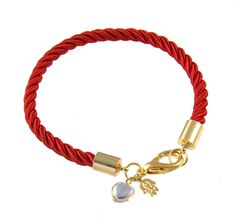 Or Jewelry Red Rope Bracelet w/ Crystal Love Protection , Jewish Israeli Jewelry | Judaica WebStore