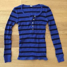 JCrew blue/black striped thermal waffle shirt Size xs. Fits snug and warm. Gold buttons. J. Crew Tops