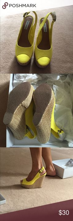 Unworn Steve Madden Yellow Wedges. Sz 7. Brand new in box (box included if wanted) pair of vibrant yellow wedges from Steve Madden. I have never worn these out. As you can see, one of the buckles still has the tissue paper wrapped around it. These are high wedges - maybe 4-5 inches, but they are super comfy. Perfect for summer! Steve Madden Shoes Wedges