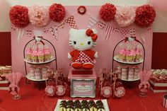 Hello Kitty Pink Red / Birthday / Dessert Table: My Hello Kitty dessert table
