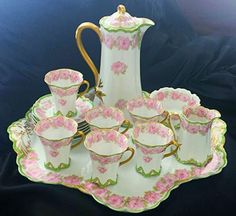 RARE Haviland Limoges 16 Piece Drop Rose Chocolate Pot Set
