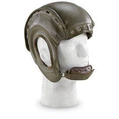 Used French Military Surplus Leather Tanker's Helmet.