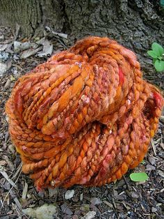 Handspun Art Yarn - Pumpkin Spice via Etsy