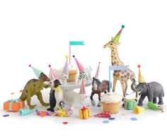 12 mini party hats for animals and dinosaurs, miniature hats for dolls, plastic animals, circus farm dinosaur party Party Animals, The Animals, Animal Party, First Birthday Parties, 3rd Birthday, First Birthdays, Birthday Brunch, Birthday Ideas, Festa Party