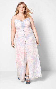 Pink Tie-Dye Plus Size Button Front Long A-Line Maxi Dress. This hand-dyed pink tie-dye maxi dress plus size Characterized by a long row of button closures beneath a V-neckline and sleeveless silhouette, this A-line dress. Pink Satin Dress, Blush Pink Dresses, Pink Plus Size Dresses, Tie Dye Maxi, Pink Cocktail Dress, Modcloth, Dress Fashion, Curvy, Neckline