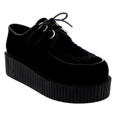 Womens Double Platform Punk Goth Flatform Brothel Creepers Retro Shoes - 39 - ZSK0007K. Double Platform Creepers. Soft Textile Lining. D-Ring Eyelet Lace Up Closure. Contrasting Piping Threwout. Chunky Ridged Platform Sole Unit.