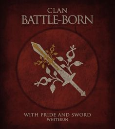 Clan Battle-Born by wildskyrim@tumblr.com (Elder Scrolls V: Skyrim). Elder Scrolls Oblivion, Elder Scrolls V Skyrim, Skyrim Lore, Skyrim Wallpaper, Daedric Prince, Bethesda Games, Nordic Art, Nerd Stuff, Awesome Art