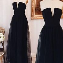black party dress strapless evening dress v neck formal dress tulle long prom dress sold by shuiruyandresses. Shop more products from shuiruyandresses on Storenvy, the home of independent small businesses all over the world. Strapless Prom Dresses, Tulle Prom Dress, Lace Evening Dresses, Cheap Prom Dresses, Girls Dresses, Formal Dresses, Black Tulle Dress, Long Dresses, Wedding Dresses