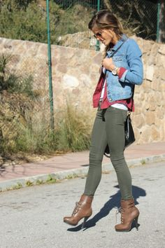 denim jacket with olive jeans, plaid shirt, basic white tank + brown booties  // @dressmeSue pins real outfits