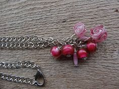 New listing in my  Genetsy Etsy store pink swirl lamp work glass beads necklace with thick silver chain all hand beaded . by FusedbyGenet on Etsy