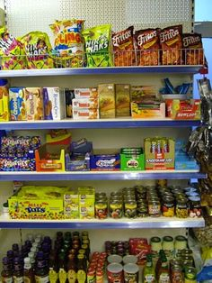 Typical South African sweet display in a local small shop