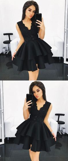 Black Homecoming Dress,V Neck Homecoming Dress,Lace Homecoming Dress,Ruffles Homecoming Dress,Short Prom Dress