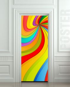 Door STICKER nursery rainbow outer cosmos abstraction by Wallnit, $39.99