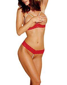 DELEY Damen Dessous Perle BH G-String Bikini Set Babydoll Reizwäsche Unterwäsche Nachtwäsche Rot