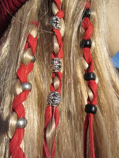 2 Leather Hair Wraps Hair Tie Ponytail Holders Beaded Bead Hair Extensions