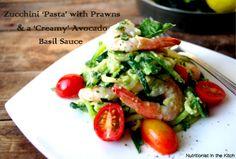 Zucchini 'Pasta' with Prawns & 'Creamy' Avocado Basil Sauce (GF!)