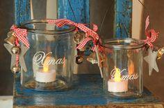 Kerzen & Beleuchtung - 2er-Set Teelichtgläser Xmas rot-weiß - ein Designerstück von Vintage-Romance bei DaWanda