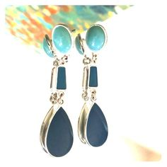 Liz Claiborne Vintage Silver Blue Enamel Earrings Earrings are 2 1/2 inches long. Silver and three shades of blue will compliment your outfits. Stamped Liz Claiborne Liz Claiborne Jewelry Earrings