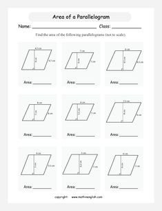 Printable Area of Parallelogram worksheet