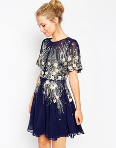 Image 1 of ASOS Gold And Navy Sparkle Mesh Skater Dress Mor