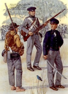Regulars at San Jacinto, L to R - Private Infantry Regiment, deserter US Infantry and Major John Allen, Infantry. Mexican Army, Mexican American War, American History, American Soldiers, American Civil War, American Uniform, Army Uniform, Military Uniforms, Native American Models