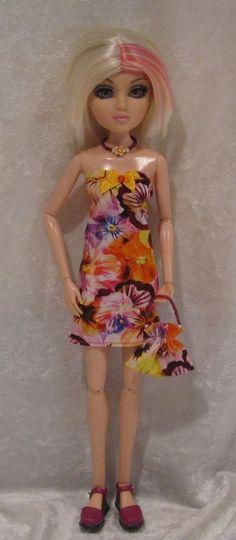 """MOXIE TEENZ 14"""" Doll Clothes #25 Handmade Dress, Beaded Necklace & Purse Set #HandmadebyESCHdesigns"""