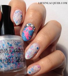 Her nails are filed to a point. Why??--  The ORIGINAL PINNER SAID: Fantasy waves nails art design using stamping and Sick Lacquers