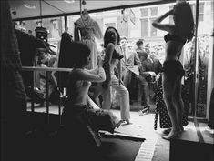 """novel window display in the """"Lady Jane"""" boutique on London's Carnaby Street, 1966. Boutiques in the 1960s changed the way merchandise was displayed and sold. The shops reflected an informality between the owner and clientele and included novelty fashions, smaller retail volumes, and innovative displays and interiors."""