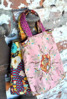 Handmade Bohemian Totes- I love shopping in thrift stores for vintage dresses to use as fabric!