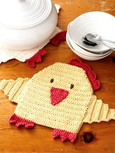 Chicken Hot Pads | Yarn | Free Knitting Patterns | Crochet Patterns | Yarnspirations
