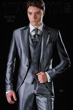 Three piece shiny gray peak lapel tuxedo  groom  suit  formalwear  dapper   2939c731dfa