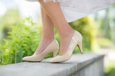 Nude Bridal Shoes, Wedding Heels, Nude Heels, Nude Wedding Heels, Bridal Heels, Lace Heels, Nude Pumps with Ivory Lace. US Size 7.5