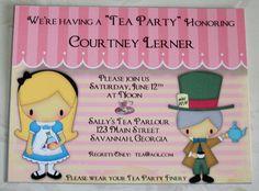 ALICE in WONDERLAND - Tea Party - This listing is for 25 Custom Uncut  Invitations - Shower, Birthday - Wedding - AL 07. $67.50, via Etsy.