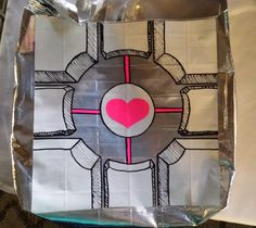Companion Cube duct tape bag, from Portal