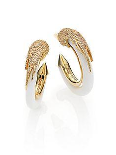 Eddie Borgo Milky Quartz Pavé Plume Hoop Earrings/Silvertone