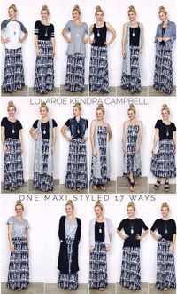 One LuLaRoe maxi skirt styled 17 different ways! Click the link to join my facebook group to see the individual photos with descriptions. The maxi skirt is so versatile! More style inspiration and LuLaRoe shopping is available in my group!