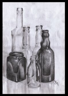First still life i've done in a while. pencil, original size Still Life Bottles Still Life Sketch, Still Life Drawing, Still Life Art, Art Sketches, Art Drawings, Shading Drawing, Bottle Drawing, Observational Drawing, Ap Studio Art