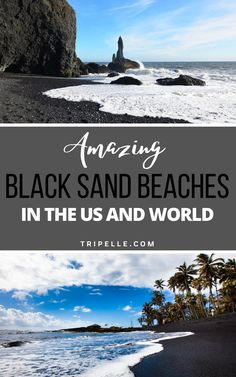 Have you ever set foot on an amazing black sand beach somewhere in the world? If you have, then you know how amazing they truly are. And if you haven't, well, then you will want to visit one really soon! The black sand on these beaches is mostly from volcanic minerals and rocks. However, other minerals like iron, tourmaline, magnetite, staurolite, and so many others can cause sand to turn black. While walking along a black sand beach or black beach may not seem too appealing at first Beach Travel, Usa Travel, Beach Trip, Solo Travel, Travel Info, Travel Ideas, Travel Inspiration, Travel Tips, Places To Travel