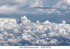 Clouds white with blue sky - stock photo