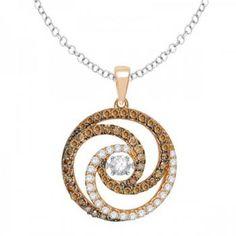 Allurez 14kt Rose Gold Bead Brown Diamond Necklace Qj6nEB
