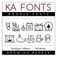 The Doodle Fonts Bundle is available at a great discount! Each set will include 26-52 various hand-drawn font doodles. The following doodle sets will be included in the bundle: ⟶ Christmas ⟶ Winter ⟶ Valentine ⟶ Spring ⟶ Fall ⟶ Halloween ⟶ Thanksgiving ⟶ Summer ⟶ Tropical ⟶ Everyday The Bundle Currently Includes: CHRISTMAS DOODLES - 52 Christmas themed doodles WINTER...