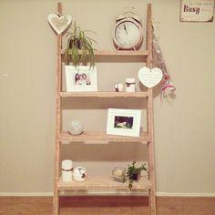 Mooie muur ladder met decoratie