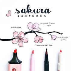 I did another swatch, this time with a tombow dual brush in the colour bc it's very similar to the stabilo boss pastel pink colour Bullet Journal Notebook, Bullet Journal Ideas Pages, Bullet Journal Inspiration, Journal List, Stabilo Boss, Bullet Journal Aesthetic, Flower Doodles, Easy Drawings, Stationery
