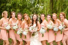 bridesmaids in Modcloth dresses peach
