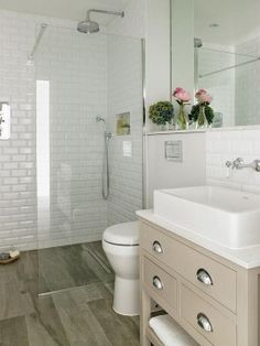 Explore Small Basement Bathroom Cabin Bathrooms and more! Bathroom Update Ideas: to update a fibreglass walk in shower with mosaic tile Small Basement Bathroom, Wood Bathroom, Bathroom Layout, Bathroom Ideas, Cabin Bathrooms, Small Bathrooms, Vanity Bathroom, Bathroom Designs, Budget Bathroom