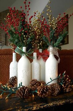 Inspiring White Bottle Hand Craft With Plant Branch Christmas Centerpiece  Design / Furniture Excelent Christmas Centerpiece Most Decoration .