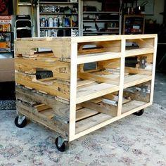 Rolling Wooden Cart