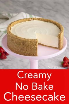 This delicious no bake cheesecake from Preppy Kitchen is light, creamy and beyond easy to make. You'll like the perfectly sweet filling with a touch of tang and the fragrant crust packed with toasted pecans. No Bake Cheesecake Filling, No Bake Pumpkin Cheesecake, Baked Cheesecake Recipe, Oreo Cheesecake, Chocolate Cheesecake, No Bake Cheescake, Cheese Cake Filling, Classic Cheesecake, Raspberry Cheesecake