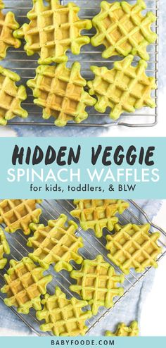 These Freezer-Friendly Spinach Waffles are a perfect healthy and quick breakfast for baby, toddler and kids! Great for baby-led weaning! Warm and wholesome waffles made with nutrient packed spinach! Healthy Toddler Meals, Toddler Lunches, Kids Meals, Toddler Dinners, Meals For Toddlers, Healthy Kids Breakfast, Fingerfood Baby, Baby Snacks, Boite A Lunch